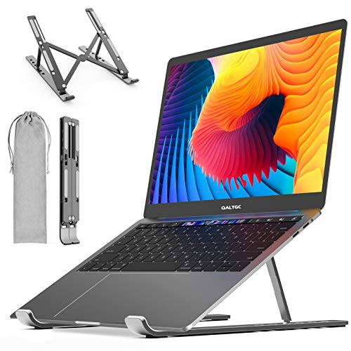 """QALTGC Laptop Stand Ergonomic Adjustable Portable Computer Stand Compatibility Up to 17.3""""Laptops for Desk Aluminum Multi-Angle Foldable Ventilation Cooling Stand"""