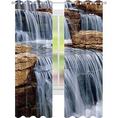 Cortinas opacas para dormitorio, cascada sobre rocas naturales Parque Paisaje impreso, W52 x L84 para puertas correderas de vidrio, sala de estar, marfil, beige y blanco