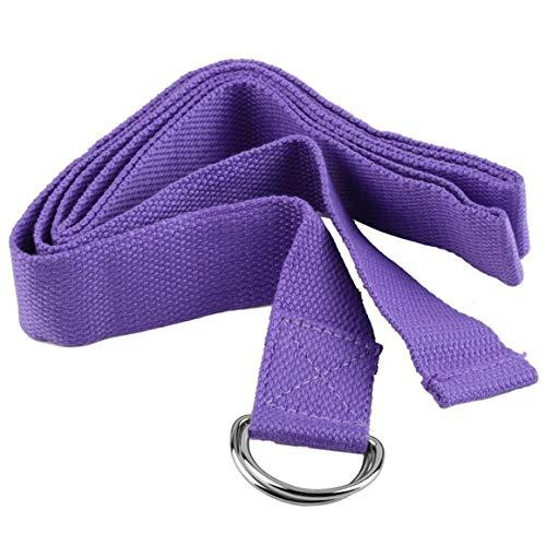 MeterBew1147 Ejercicio físico Profesional Gimnasio Yoga Correa elástica Cinturón con Anillo en D Figura Cintura Pierna 1800 X 37 Mm Correa de extensión Cinturón - Púrpura