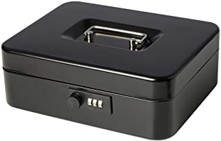 Jssmst Large Cash Box with Combination Lock – Durable Metal Cash Box with Money Tray Black(9.8 x 7.9 x 3.5), SM-CB07001L