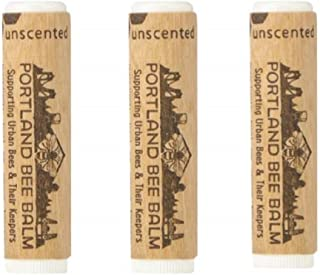 Portland Bee Balm All Natural Handmade Beeswax Based Lip Balm, Unscented 3 Tube Pack