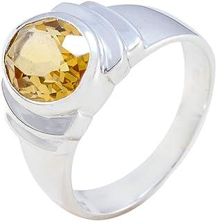 Argent sterling 925 plaqué or véritable à Damier Citrine Gemstone Ring