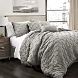 Lush Decor Ravello Comforter Shabby Chic Style Pintuck 5 Piece Bedding Set with Pillow Shams, King, Gray
