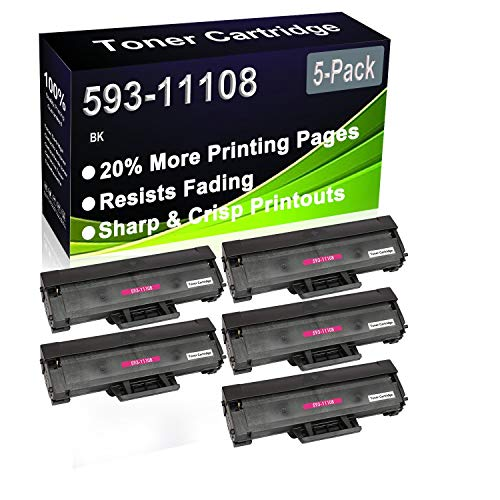 5-Pack (Black) Compatible 593-11108 HF44N Printer Toner Cartridge (High Capacity) fit for Dell B1160 B1160w B1163w B1165nfw Printer