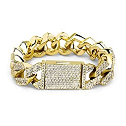 Gold Plated Brass Cubic Zirconia Box Link Bracelet