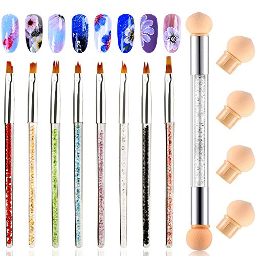 MWOOT Lot de 9 Pinceaux a Ongles pour Nail Art, Brosses éponge avec 4 Têtes de Brosse de Rechange, Brosses à Ongles Accessoires de Décoration pour Ongles Decoration