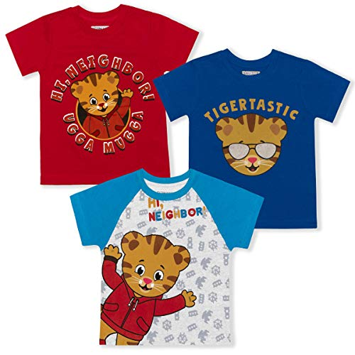Fred Rogers Company Boy's 3-Pack Daniel Tiger Graphic Tee Shirts, Blue/Red/Grey, Size 2T