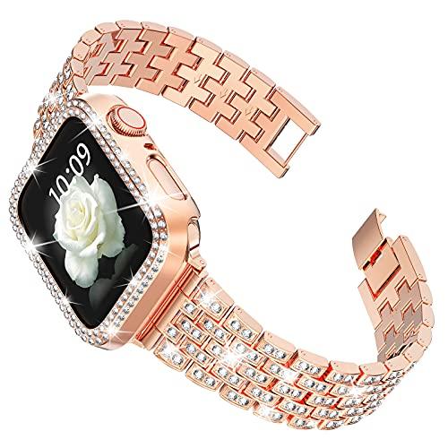 wlooo Diamante Reloj Correa para Apple Watch 40mm 38mm, Bling Watchband Pulsera Hombres Mujeres Cristal Rhinestone Correa Reemplazo Metal Inoxidable para iWatch Serie 6 SE 5 4 3 2 1 (40/38, Oro Rosa)