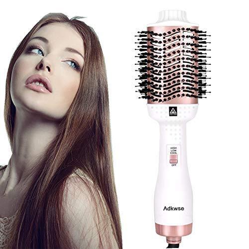 Adkwse 5-in-1 haardroger, multifunctionele heteluchtborstel, föhnborstel, warme luchtborstel, glad haarborstel, heteluchtkam, krulwikkelaar voor alle haartypes (kerstcadeaus) Wit roségoud.