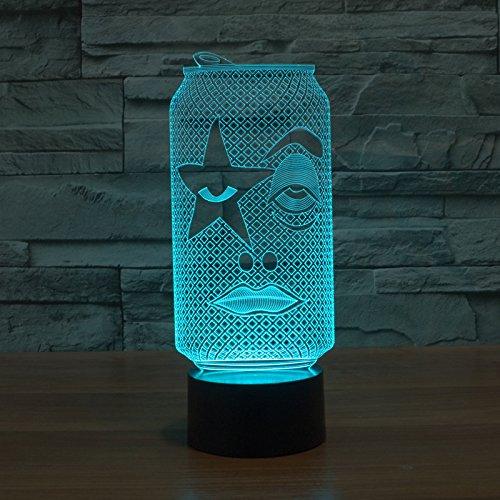 3D LED nachtlampje cartoon fles schoonheid 7 kleuren afstandsbediening touch slaapkamer lamp hoofddecoratie, kinderen kerstcadeau