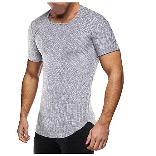 N\P Camiseta de manga corta con cuello redondo y cuello redondo para hombre