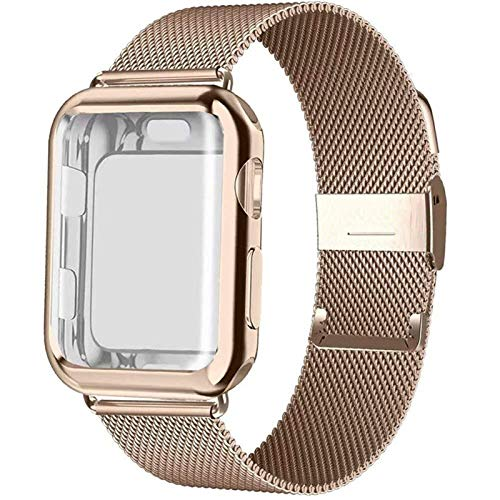 CGGA Banda con el Caso de Reloj for la Serie de Apple 5/4/3/2 38 mm 42 mm 40 mm 44 mm Correa de Acero Inoxidable de la Pulsera for IWATCH (Band Color : Rose Gold, Band Width : 42mm)