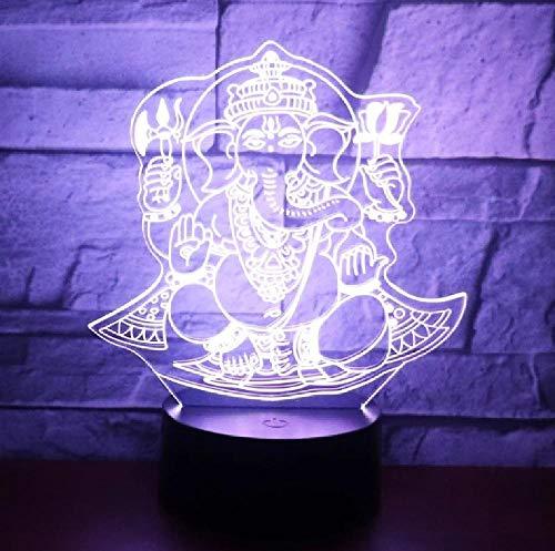 Luz De Noche Led 3D Para Dios Elefante Viene Con Luz De 7 Colores Para Lámpara De Decoración Del Hogar Visualización Increíble Óptica