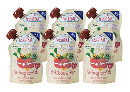 FruchtBar Bio-Bolognese-Soße mit 20{589a53efbb0fcea1ef8fcbf74967d232d2722a4d32f83c97e15559d42ffd3b01} Bio Rindfleisch und fein püriertem Gemüse, 6x190g