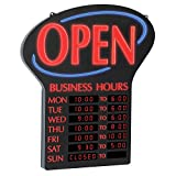 LED OPEN sign with programmable business hours Easily program business hours in 30-minute increments Business hours stay lit at all times Battery backup OPEN flashes or remains static.Sign Size(inches): 23.4 x 20.4 x 1.2