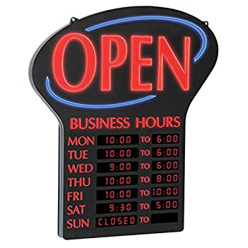 Newon LED Lighted Business Open  Sign Electronic Programmable Business Hours Sign with Flashing Effects 23.4  x 20.4  Red/Black  6093