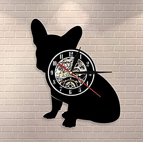 WTTA Reloj de Pared Bulldog francés Franco Raza de Perro Perro francés Perro Vinilo Reloj de Pared Cachorro Mascota Reloj de Pared Decoración del hogar Reloj de Silueta de Perro
