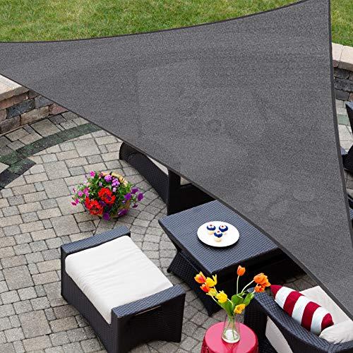 Patio Shack Sonnensegel 5x5x5 Meter Dreieck rechtwinklig, UV Schutz atmungsaktiv HDPE Sonnenschutz für Garten Balkon und Terrasse, Graphit(5x5x5m)