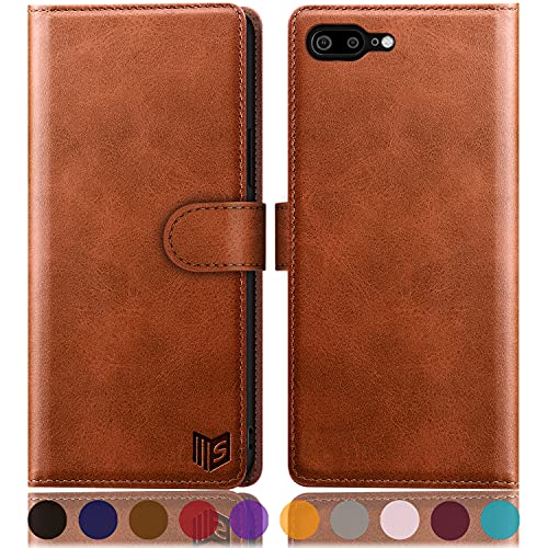 """SUANPOT for iPhone 7 Plus/8 Plus 5.5""""(Non iPhone 7/8 4.7"""") with RFID Blocking Leather Wallet case Credit Card Holder,Flip Book Phone case Shockproof Cover Women Men for Apple 7 Plus/8 Plus case"""