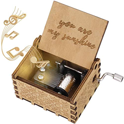 Caja de Música de Manivela de Madera,Caja Musical Tallada Antigüedad Mejor Regalo Caja Musical You Are My Sunshine,para Pareja Niños Amigos