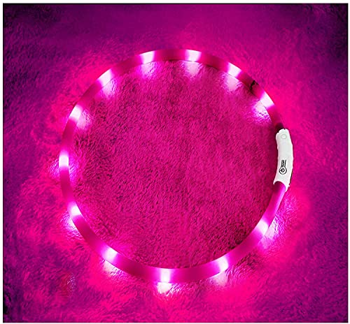 CHOUREN Collar de perro Luz LED Pet USB recargable Collar de seguridad de silicona advertencia nocturna brillante collar de perro luminoso (rosa)