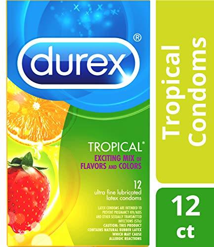 Durex Tropical Flavors Flavored Premium Condoms, 12 Count