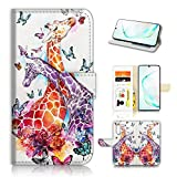 for Samsung Note 10, Galaxy Note 10, Designed Flip Wallet Phone Case Cover, A31193 Giraffe Lover 31193