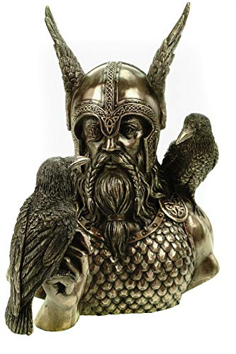 Véronese Odin Buste d'Odin avec corbeaux Hugin et Munin Bronze 23 cm