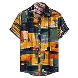 JJZSL Camisa Vintage De Verano Para Hombres Camisetas De Manga Corta De Cardigan Casual Hawaiian Flower Camisa Hombres Camisa Étnica Ropa Del Vintage (Color : A, Size : M code)