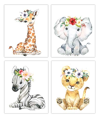Designs by Maria Inc. Safari Babies Watercolor Animals Prints Set of 4 (Unframed) Nursery Decor Art (8x10) (Option 1)