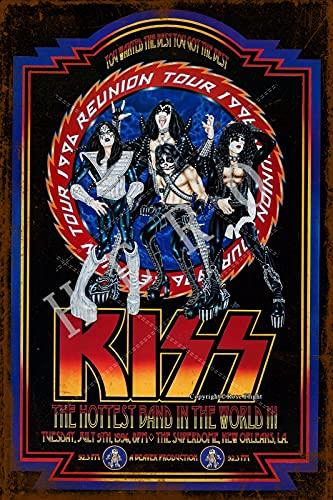 GenericBrands Kiss The Hottest Band In The World Cartel de Hierro Oxidado...