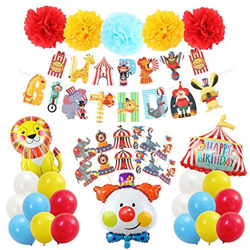 Vanansa Kinder Geburtstagsdeko Luftballons mit Zirkusmotiv, Happy Birthday Party deko Set 37 Pcs mit Happy Birthday Girlande und Cupcakes Toppers für Junge und Mädchen