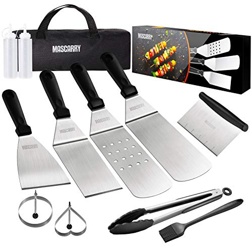 MASCARRY Griddle Accessories Kit for Blackstone and Camp Chef, 12 Pieces Flat Top Grill Cooking Set with Spatula, Griddle Scraper, Carry Bag, Griddle Tools for Outdoor BBQ, Teppanyaki and Camping