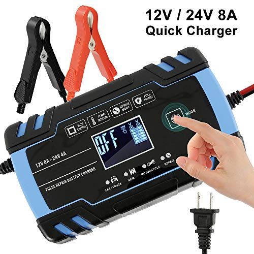 Upgraded 12V/24V Automatic Smart Battery Charger/Maintainer Delivers, Pulse Repair Battery Charger with LCD Screen, Intelligent Mode Overvoltage Protection Temperature Monitoring for Car, Truck, Motorcycle, Lawn Mower, Boat (Blue)