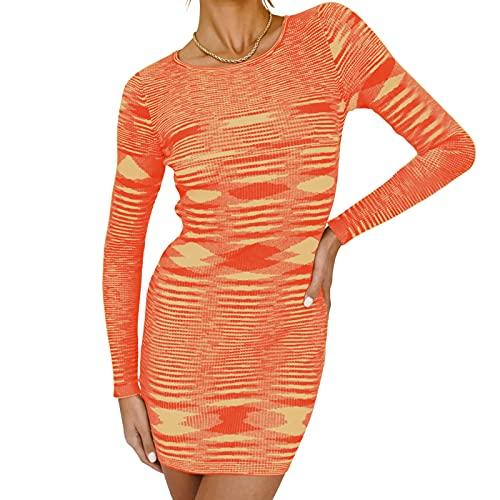 Qtinghua - Vestito sexy da donna, elegante, a maniche lunghe, scollo rotondo, con stampa geometrica astratta, Arancione, M