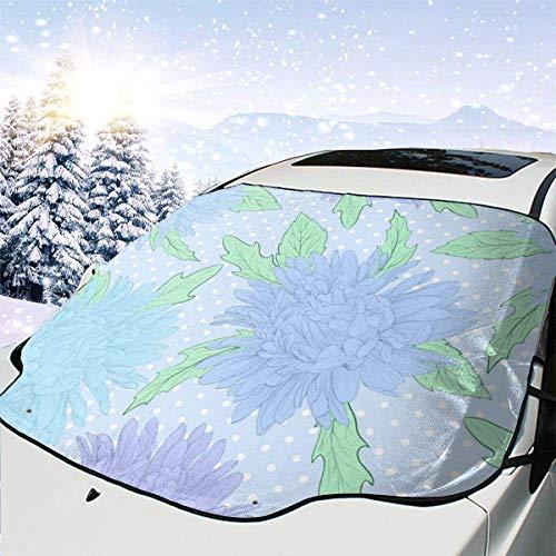 AEMAPE Fondo Transparente con Flores Dibujado a Mano 0 Cubierta de Nieve Universal para automóvil Cubierta de Hielo Cubierta de Visera de Ventana Delantera Bloque de Sol y Calor