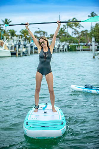 iROCKER All-Around Inflatable Stand Up Paddle Board 10' Long 32' Wide 6' Thick SUP Package   Seafoam Green - 2019