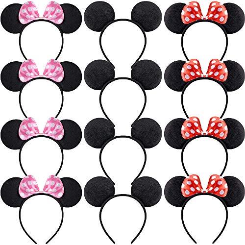 AODOOR diademas de Mickey Minnie, con lazo de satn rojo con lunares blancos, accesorio para disfraz de disfraz para nias, regalo de decoracin de fiestas, accesorios para equipos de fiesta temtico
