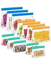 CISHANJIA Bolsa Silicona Reutilizables, 12 piezas Bolsas Congelar Reutilizables sin BPA Bolsas de Almuerzo Ziplock Snack, Bolsas de Alimentos Ecológicas e Impermeables para Frutas, Almuerzos, Viajes