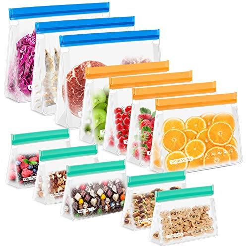 CISHANJIA Silikonbeutel Wiederverwendbare, 12 Pack Stück BPA-Frei Wiederverwendbare Gefrierbeutel Sandwichbeutel Reißverschluss für Mittagessen,Gemüse,Fleisch,Beutel Vielseitige Konservierung Tasche