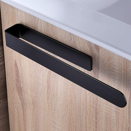 Keep Simple Toallero de acero inoxidable, sin taladrar, barra de toalla, barra de toallas, autoadhesivo, para cuarto de baño (negro A)
