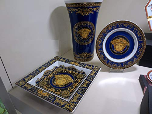 VERSACE. Set 3 Stuck Medusa Blue Vase cm 26 h+ Schale 22 x22 + Teller cm 18