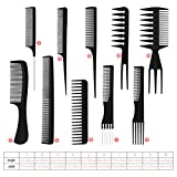 Frcolor 10pcs peines de peluquería antiestáticos profesionales, accesorios de peluquería multifuncionales Set Kit de herramientas de peinado