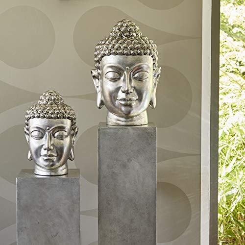 Klocke Gartenfiguren Wunderschöner & Moderner Buddha Kopf – Hochwertige Verarbeitung - Fiberglas – Indoor – Statue/Büste/Skulptur/Buddhafigur...
