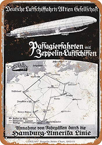 Lorenzo German Zeppelin Routes Vintage Metal Vintage Metallblechschild Wand Eisen Malerei Plaque Poster Warnschild Cafe Bar Pub Bier Club Dekoration
