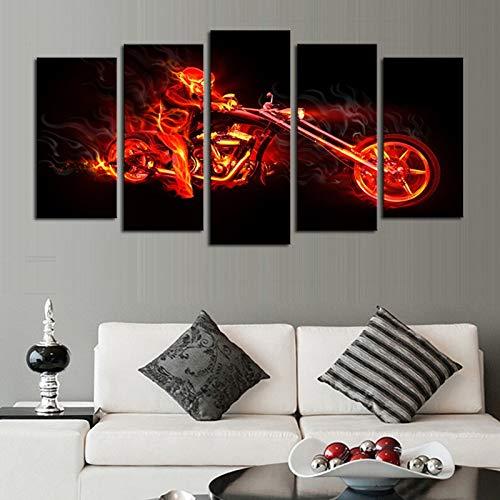 HOMOPK 5-delige afbeelding op canvas voor de brandende motorfiets en de persoon foto's 5-delig muurschildering woonkamer keuken decor afbeelding muurkunst poster canvas achtergrond muur huis decoratie geschenk 20x35cmx2 20x45cmx2 20x55cmx1 Rahmen.