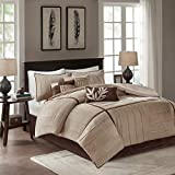 7 Piece Beige Brown Pintuck Comforter Cal King California Set, Dark Brown Adult Bedding Master Bedroom Modern Stylish Striped Textured Pattern Elegant Themed Traditional, Microsuede Polyester Stripe