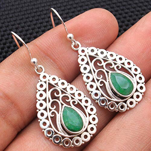 Emerald Gemstone Sterling Silver Vintage Drop Earrings for Women and Girls, Bezel Set Ear-Wire Earrings, Green Bridesmaid Earrings