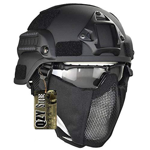 QZY Tactical Military Fast Helm Airsoft Paintball Schutzhelm & Protect Ear 1050D Nylon Doppelriemen Half Face Mesh Maske & Schutzbrille,Black