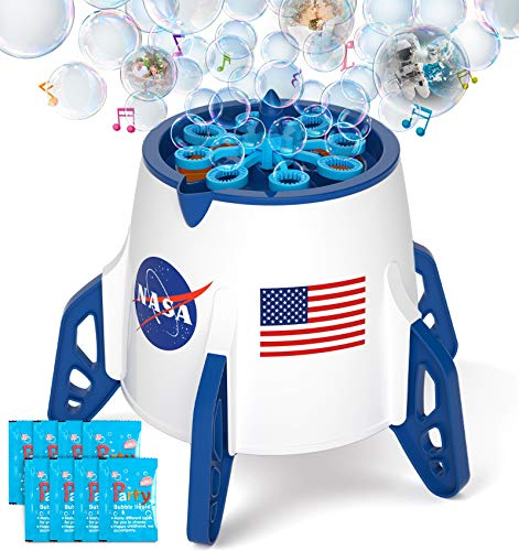 Bubble Machine, Space Rocket Bubble Machine for Toddlers, Kids, 3000+ Bubbles/min Electric Automatic Bubble Maker Blower Outdoor Gifts Bubbles Toys for Age 2-8 Year Old Boys, Girls, Baby Bath, Parties